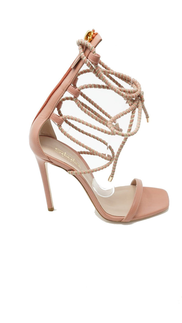 Sebastian - High Heel Nude Sandal with Braided Ankle Wrap