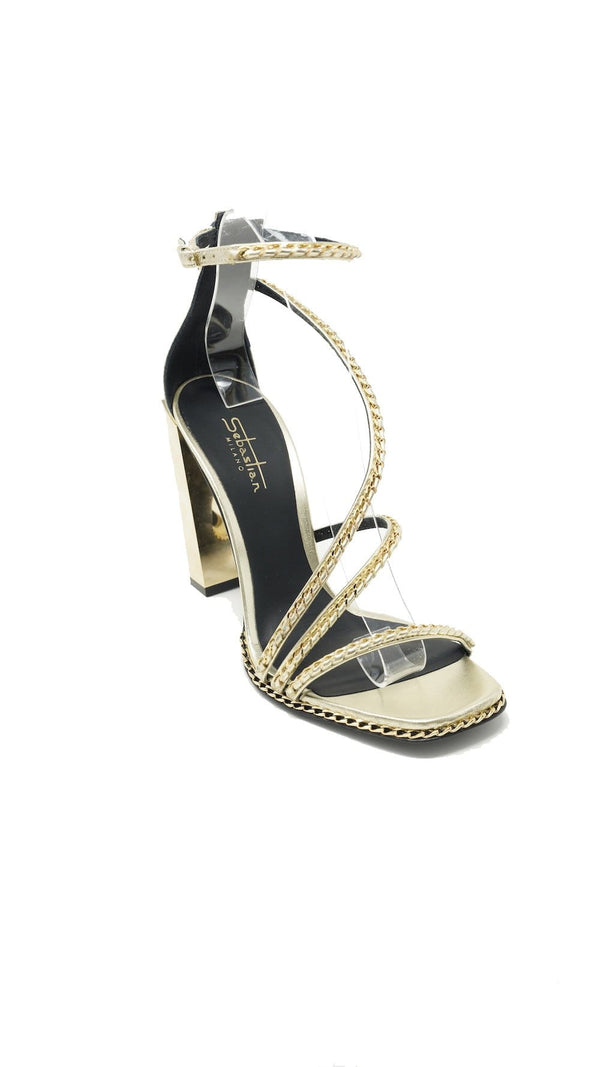 Sebastian - Gold High Heel Sandal with Gold Chain