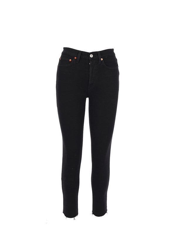 RE/DONE - Black High Rise Ankle Crop Jeans
