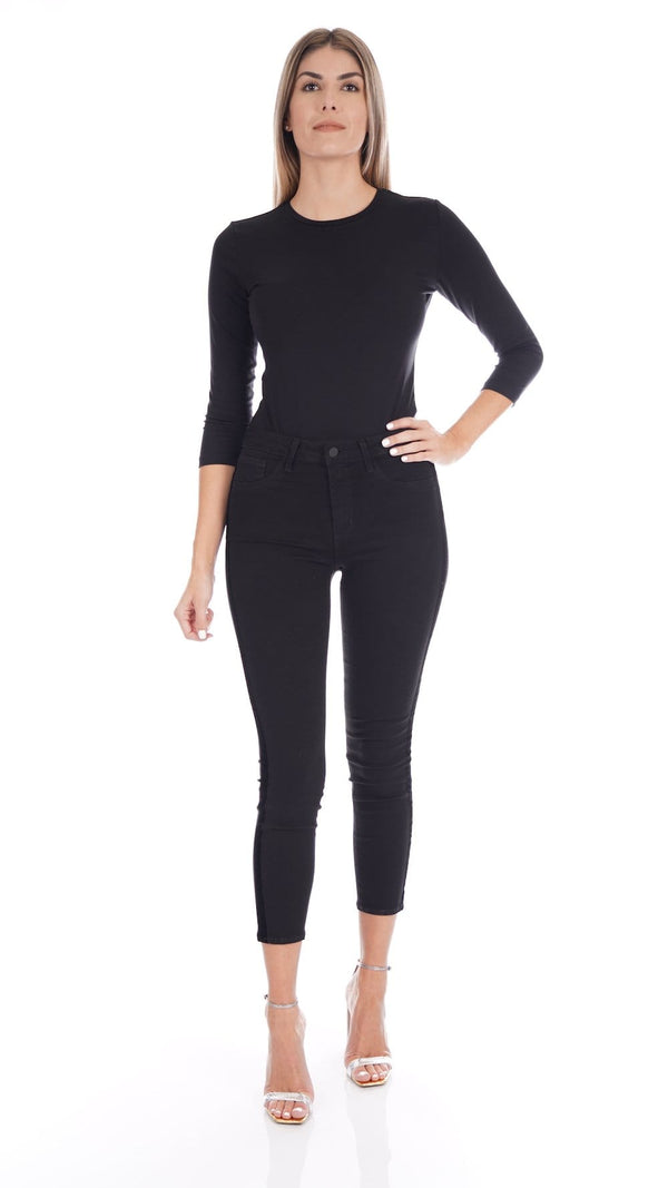 Linda 3/4 Sleeve Black Crew Neck Bodysuit