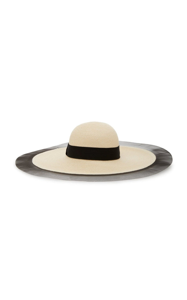 Sunny Wide Brim Hat With Black Ribbon