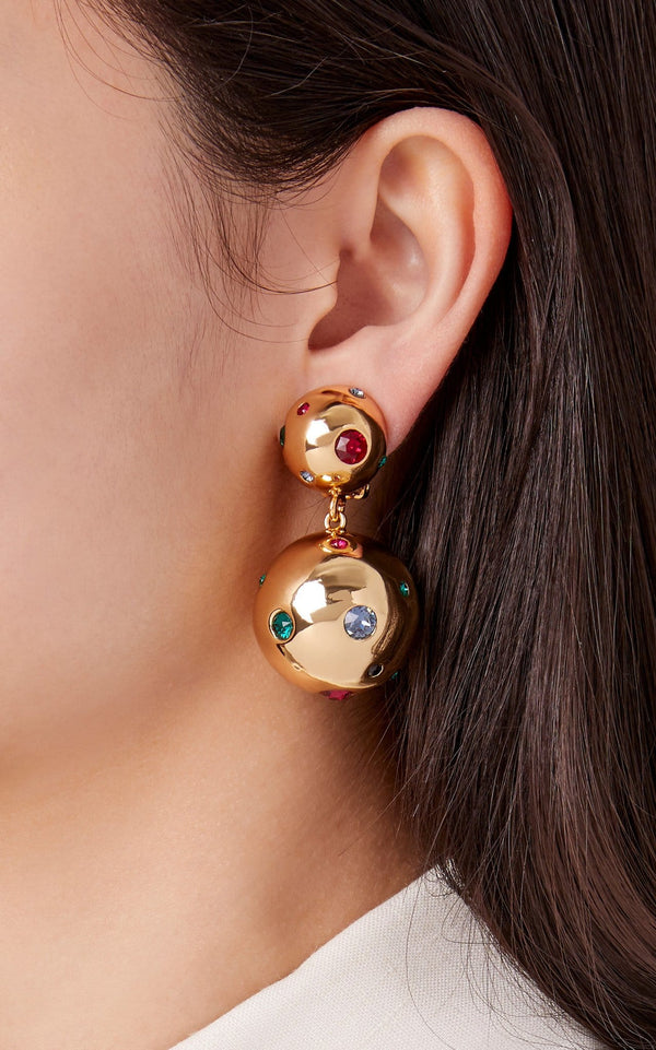 I See Stars Gold Plated Multi Crystal Embellished Bon Bon Earrings