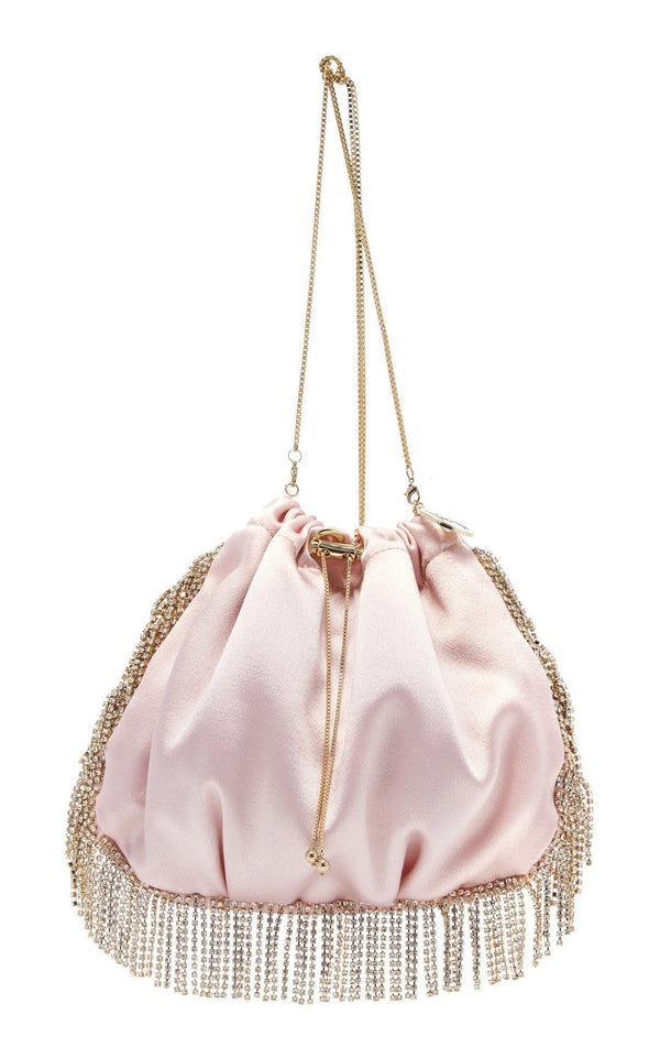 ROSANTICA - Fatale Satin Gold Crystal Drawstring Bag