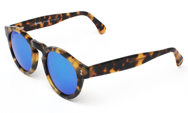 Illesteva - Leonard Tortoise Sunglasses With Blue Mirrored Lenses