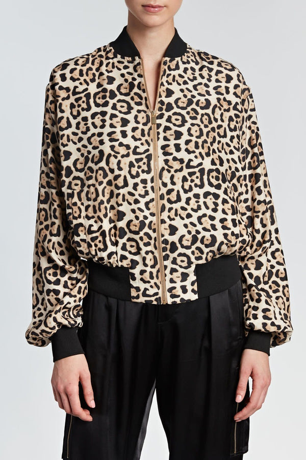 Leopard Silk Charmeuse Jacket
