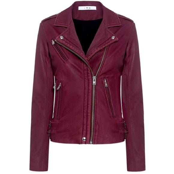 Han Cranberry Leather Moto Jacket
