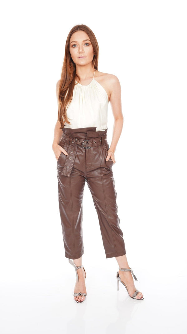 Anniston Leather Pant in Chestnut