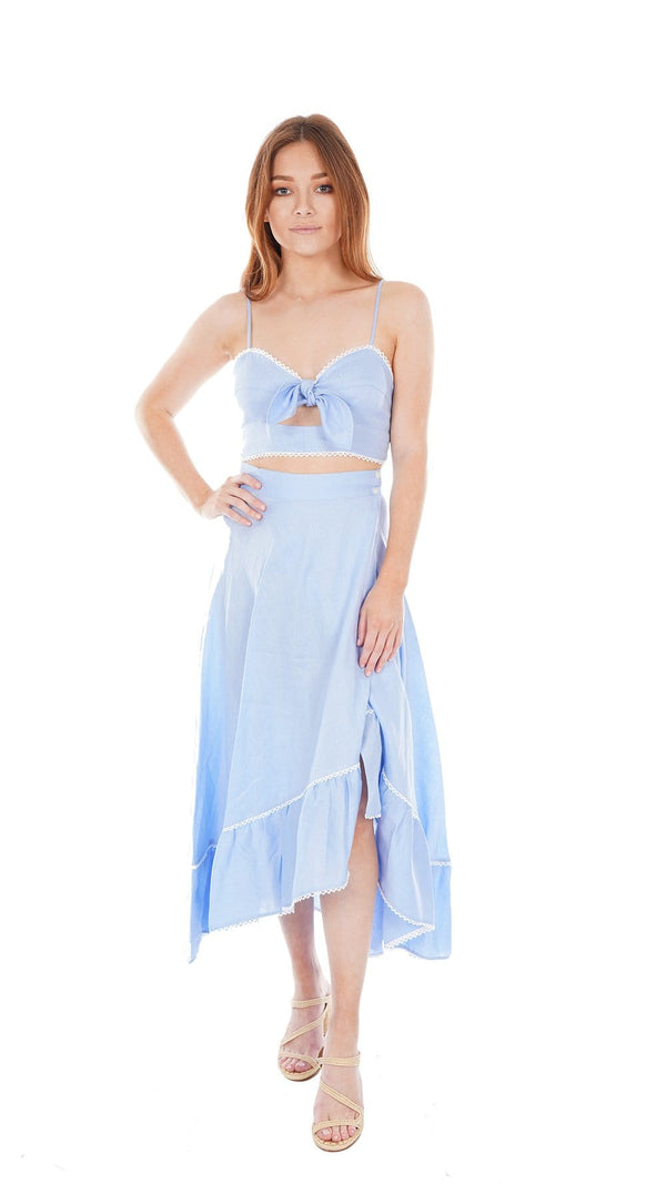 Miguelina Irene French Blue Tie-Front Crop Top