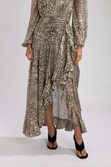 Metallic Leopard maxi Wrap Skirt