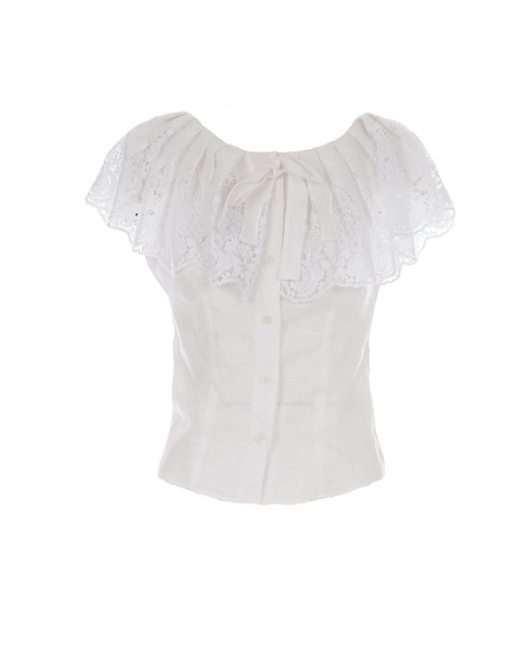 Miguelina - Esther Crochet-Trimmed Top