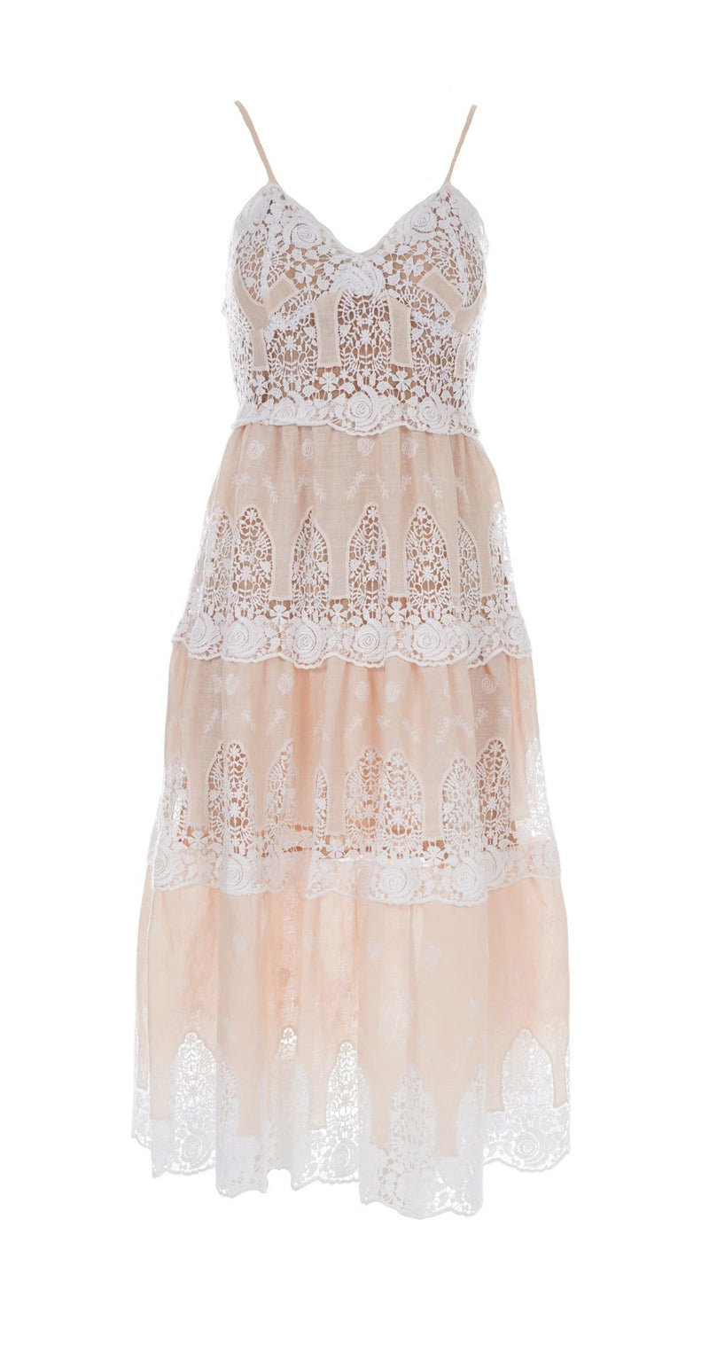 Miguelina - Lotte Honey Glow Crochet-Trimmed Midi Dress