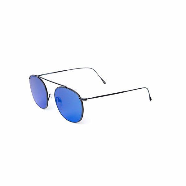 Illesteva - Mykonos II Black Sunglasses With Blue Mirrored Sunglasses