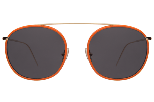 Illesteva - Mykonos III Orange And Gold Leather- Framed Sunglasses