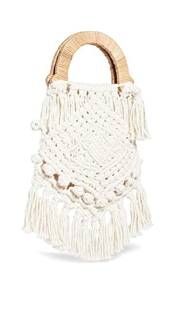 Lotus Macrame Top Handle Bag