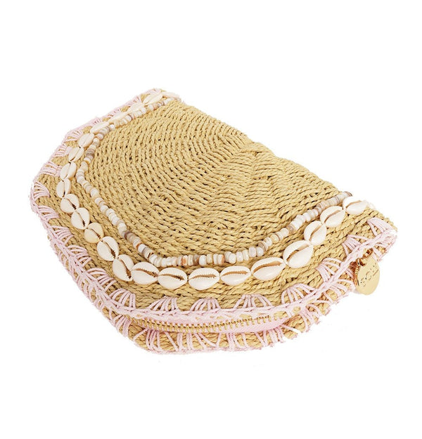 Natural Woven Shell Clutch