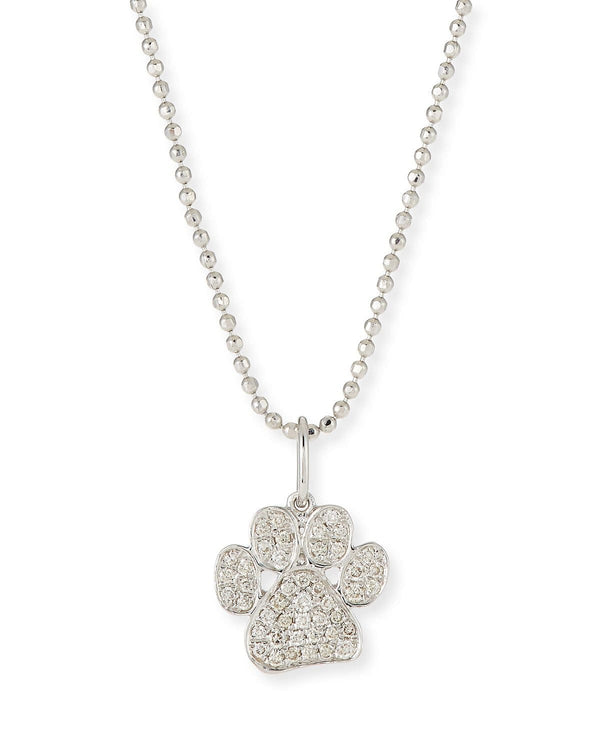 Sydney Evan Paw Charm Necklace White Gold