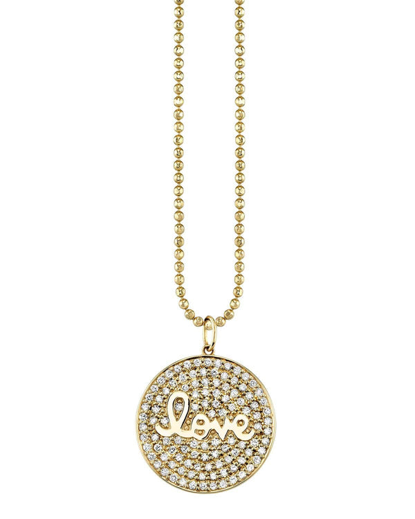 Sydney Evan Love Script Pave Medallion