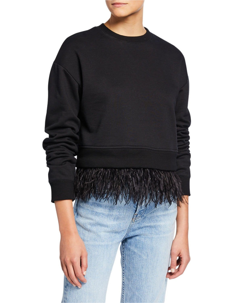 Sweatshirt With Feather Trim