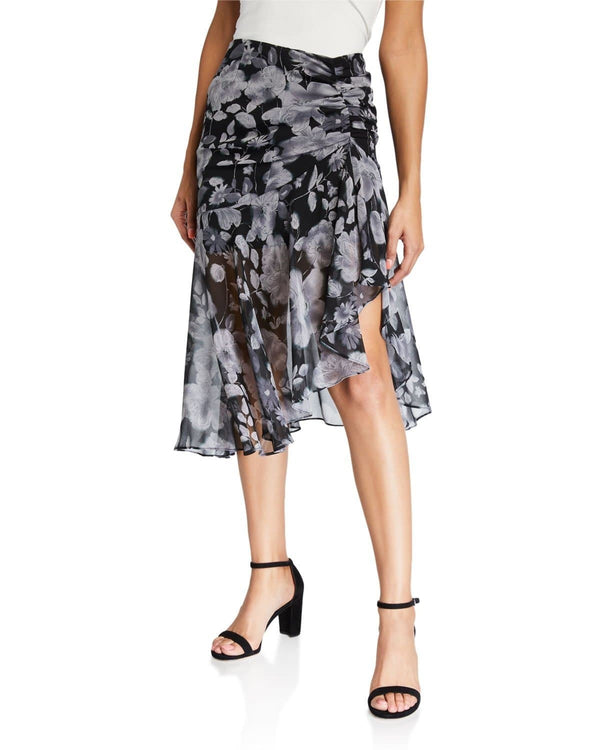 Fiona Floral Ruched Midi Skirt