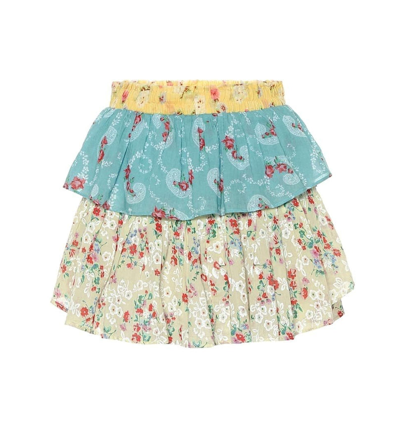 Mixed Print Ruffle Mini Skirt