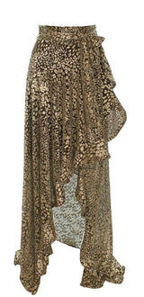 PatBO - Metallic Leopard maxi Wrap Skirt