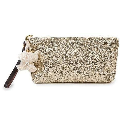 Sequin Wristlet Gold