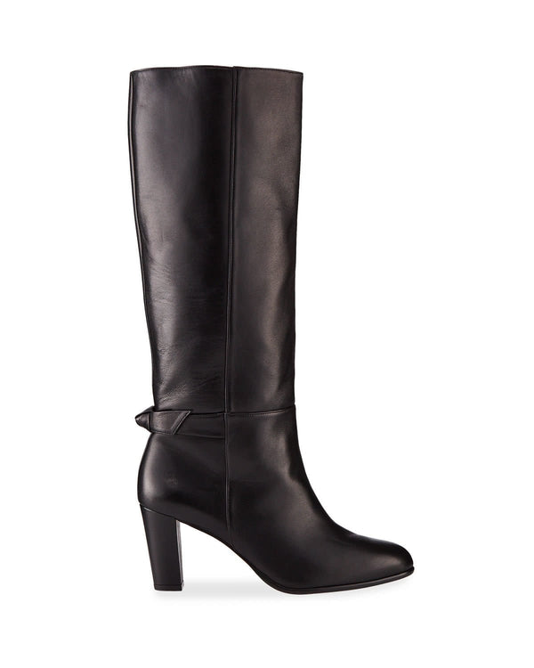 Rachel Black Leather Knee Boot With Bow