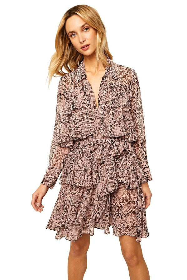 Roberta Pink Snake Print Long Sleeve Mini Dress