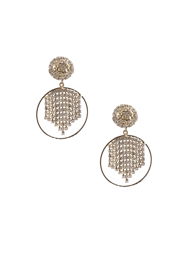 Strobo Crystal And Gold Hoop Earrings Small