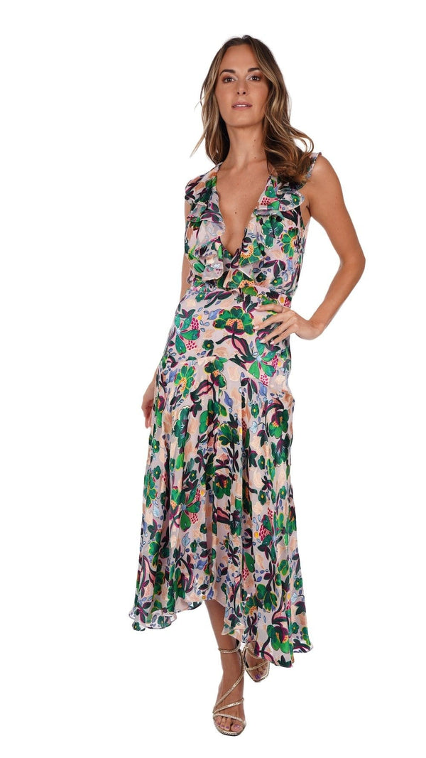 Rita Floral Chiffon Midi Dress