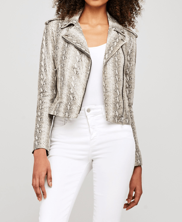 Python Print Leather Biker Jacket