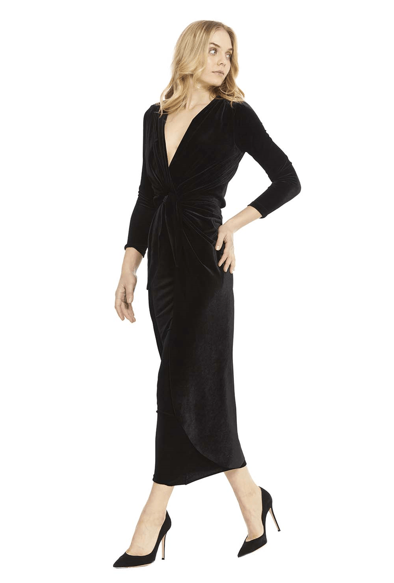 Sienna Tie Front Velvet Midi Dress