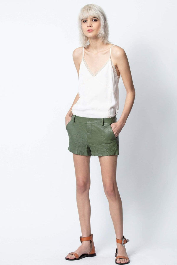 Zadig & Voltaire - Simio Crinkled Leather Shorts