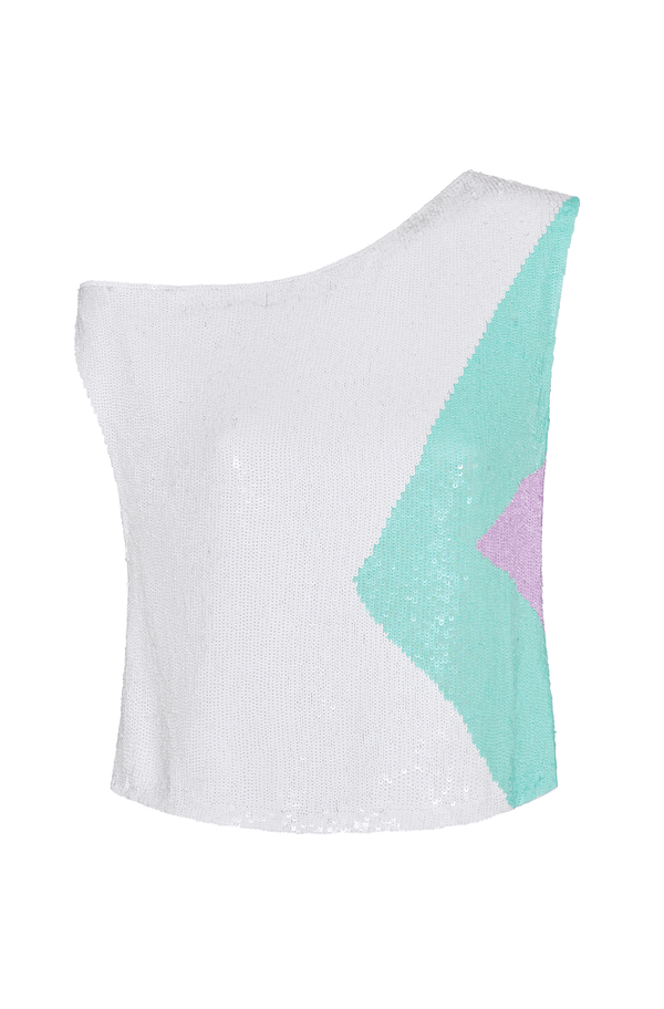 Retrofête Michelle Sequin One Shoulder Top