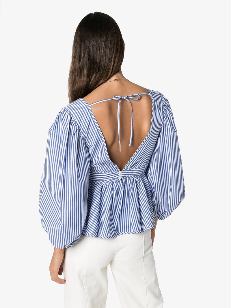 Luna Striped Poplin Top