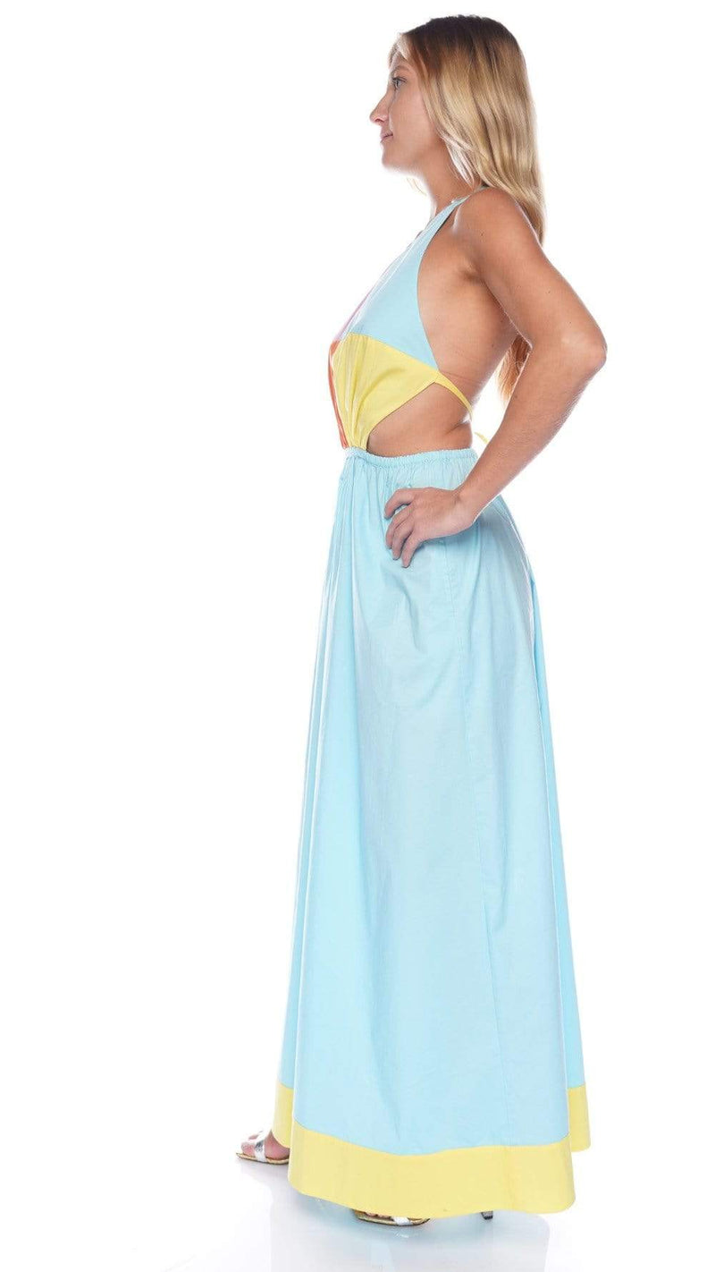 Staud Elaina Turquoise Multi Colorblock Maxi Dress
