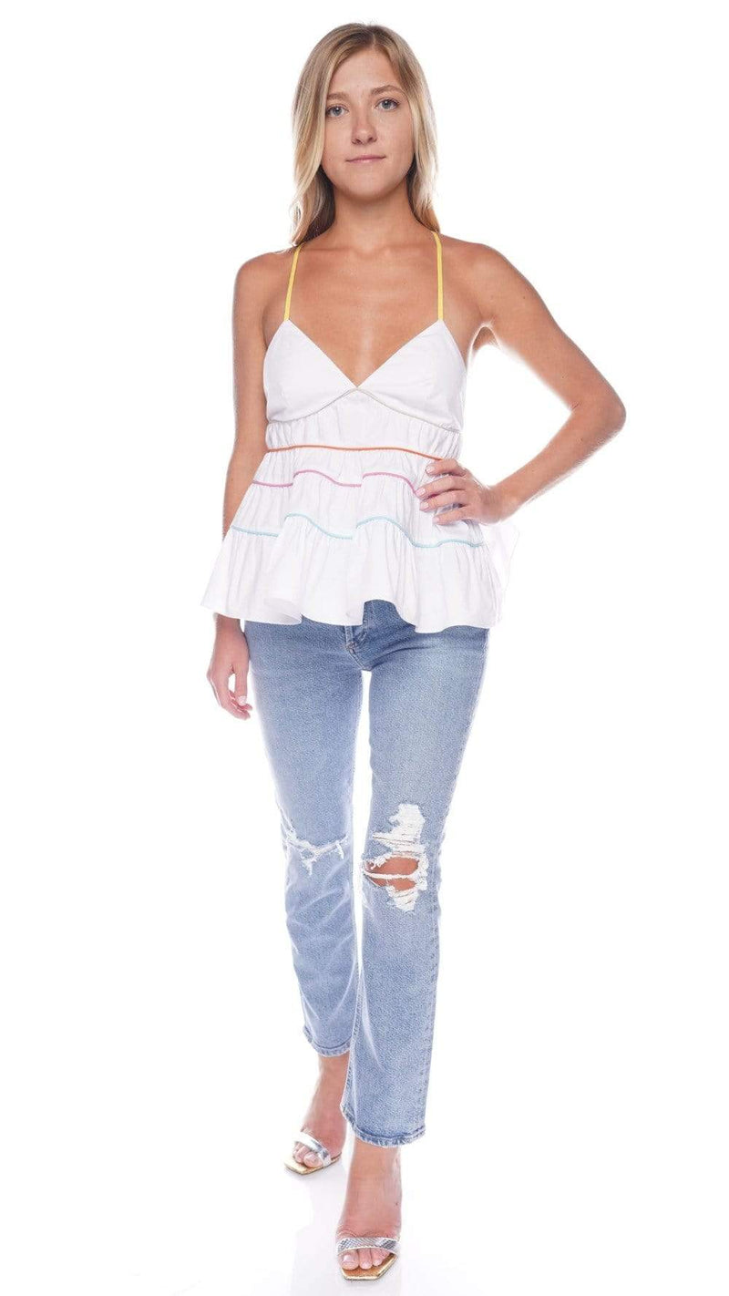 Staud Olympia White Multi Tiered Top