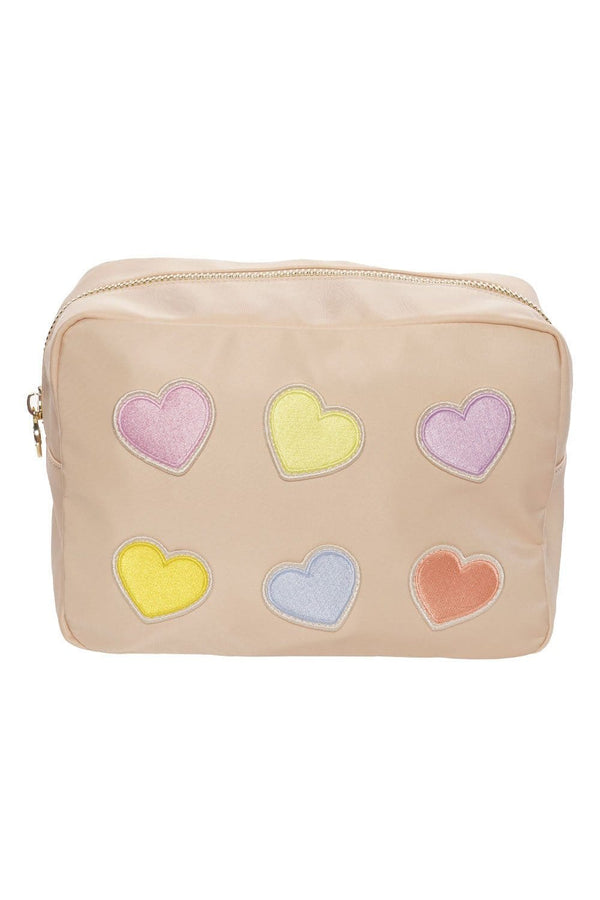 Stoney Clover Lane - Sand Large Pouch With Rolled Embroidered Heart Patches