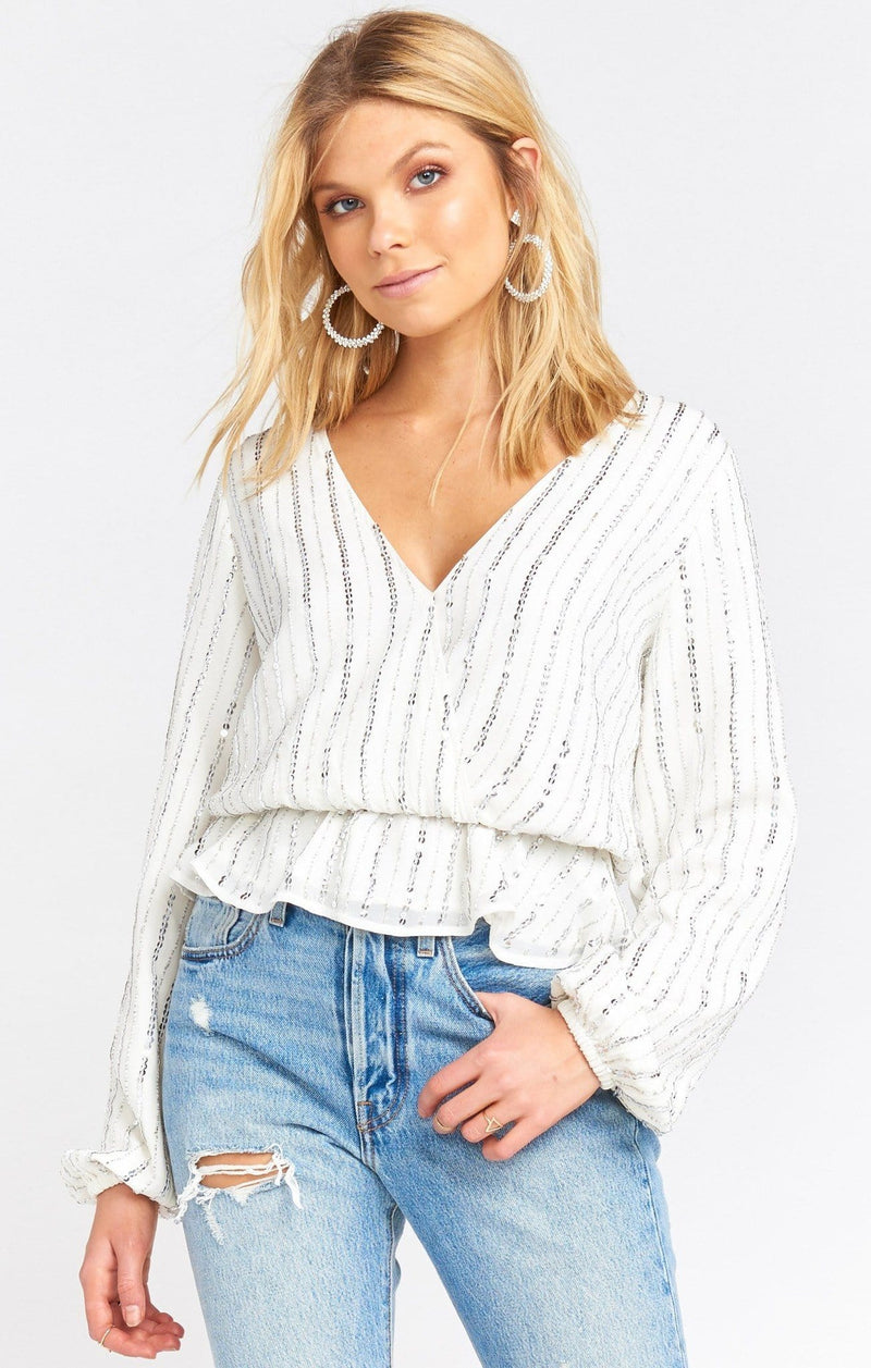 Richie Faux Wrap Sequin Top