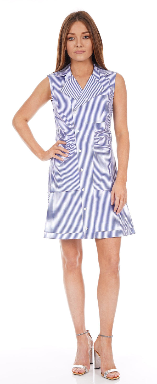 Satina Blue and White Sleeveless Shirt Dress