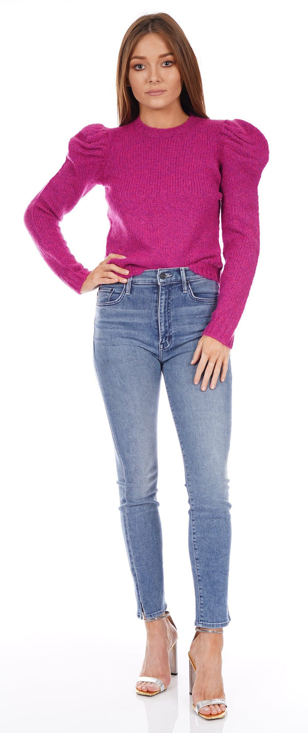 Locken Fuchsia Puff Sleeve Sweater
