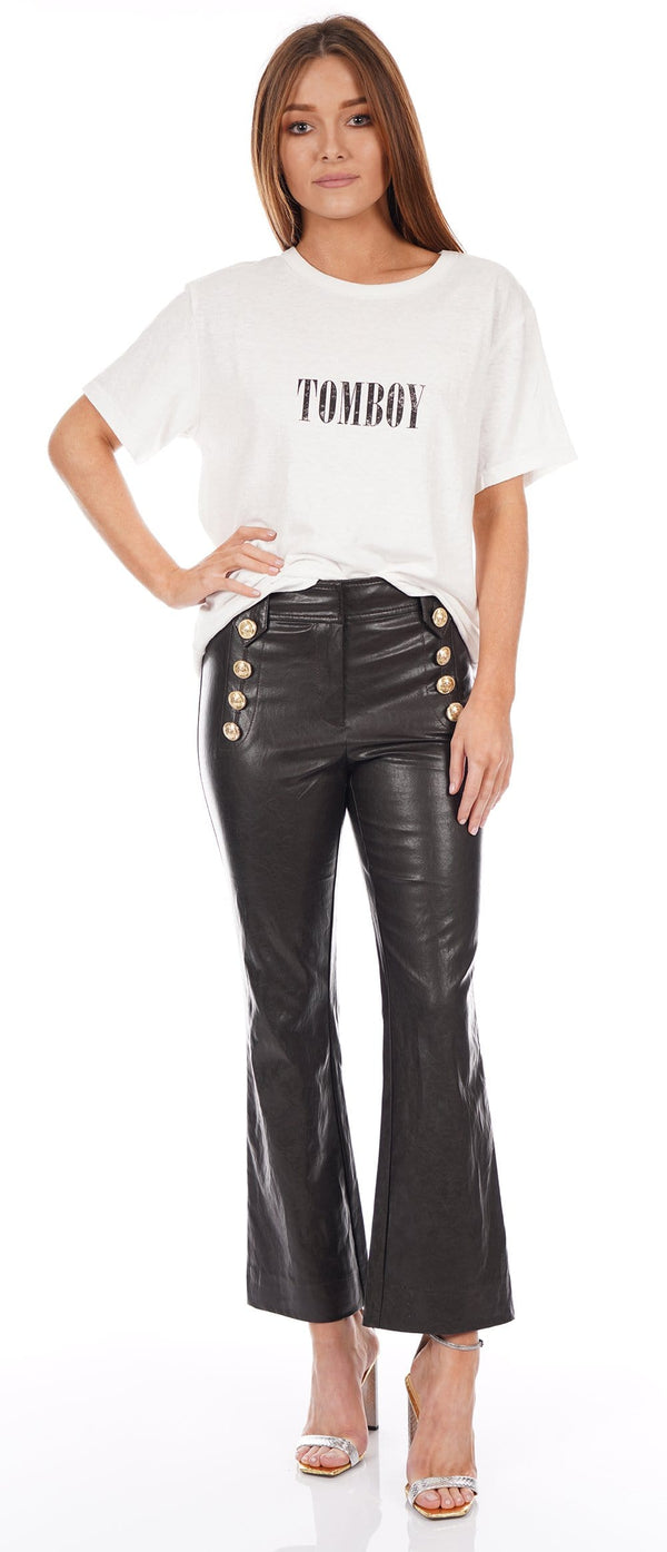 Corinna Faux Leather Cropped Flare with Sailor Buttons