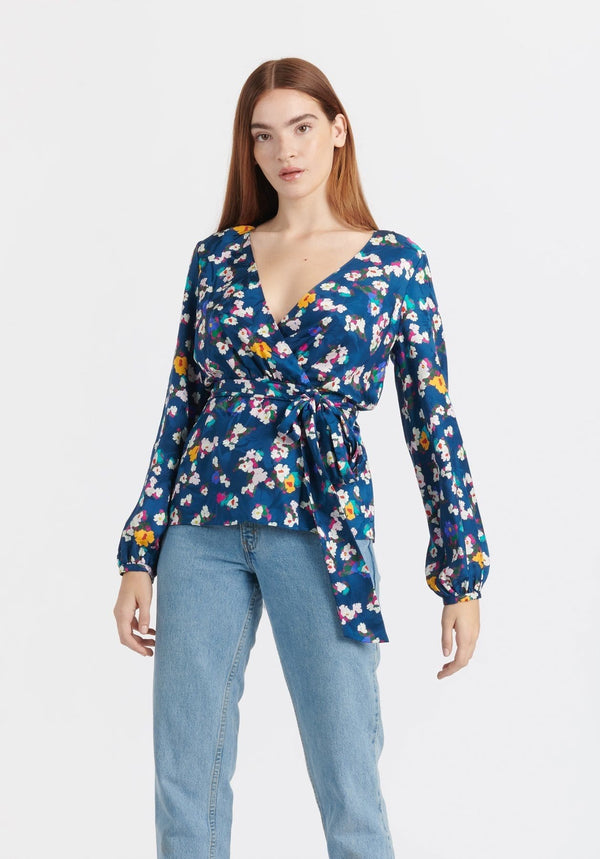 Ginger Floral Silk Wrap Top