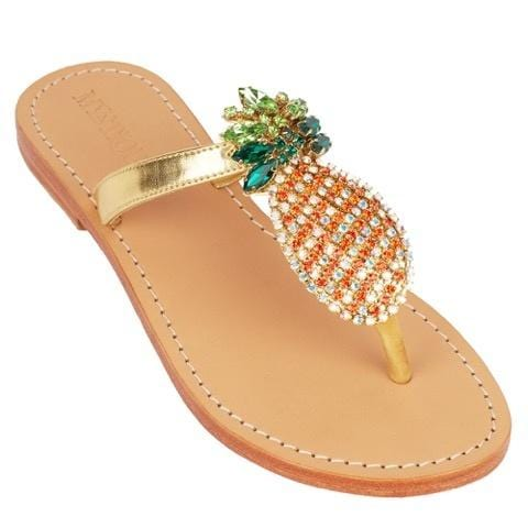 MYSTIQUE Cabo San Lucas Gold Cystal Pineapple Thong Sandals