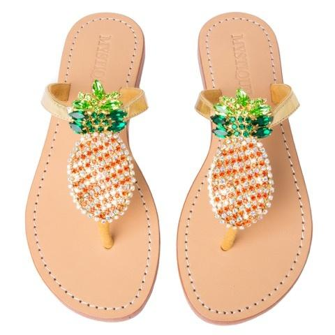 MYSTIQUE - Cabo San Lucas Gold Cystal Pineapple Thong Sandals