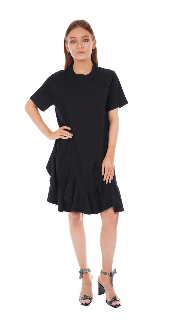 RED VALENTINO - Black Short Sleeve Jersey Dress With Ruffle Hem