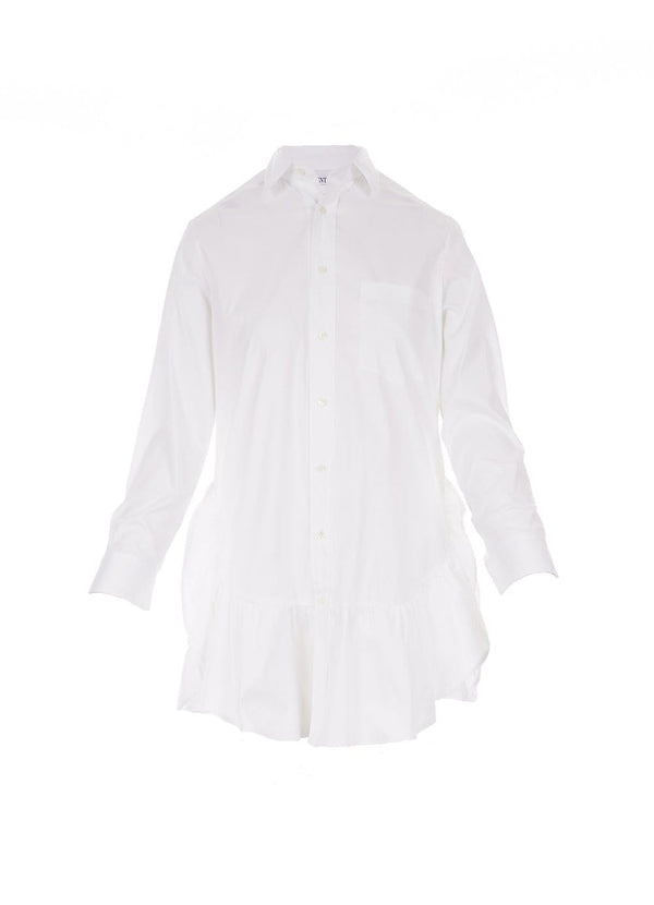 Flounce Detail White Cotton Poplin Shirt Dress