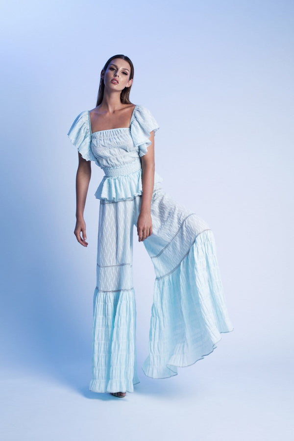 Wide Leg Beach Pant With Ruffles