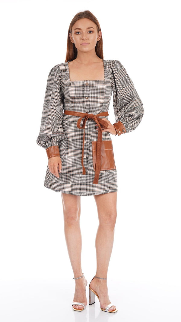 Oz Glen Plaid Faux Leather-Trim Mini Dress