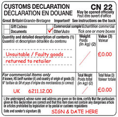 Customs label example